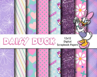 Disney Daisy Duck Inspired 12x12 Digital Paper Backgrounds for Digital Scrapbooking, Party Supplies, etc -INSTANT DOWNLOAD -