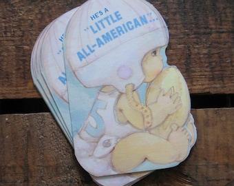 Vintage Baby Boy Football Birth Announcements - Set of 10 Announcements - Baby Boy