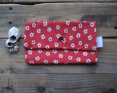 SALE - Red Snap Pouch with a White Flower Design