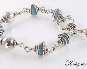 Lampwork Sterling Silver Wire Wrapped Bracelet-KTBL