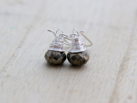 Pyrite Earrings, Sterling Silver Wire Wrapped, Silver and Gold, Rocker Fashion, Metallic Jewelry