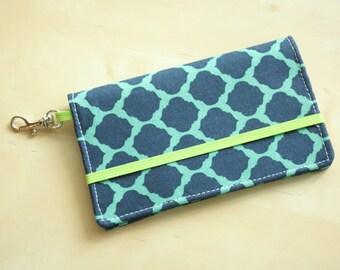 Cell Phone Wallet - Navy, Mint Moroccan Trellis Print - Smart Phone Wallet - iPhone, Evo, Galaxy