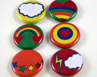 6 One Inch Retro Rainbow, Flower, Star  Buttons- , Flair, Hollow Back, Flat Back Button Set #3