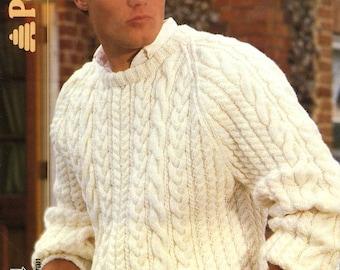 Vintage Men's Cable Sweater, Knitting Pattern,1960 (PDF) Pattern, Patons 8148