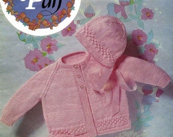 Vintage Baby Coat, Bonnet and Bootees, Knitting Pattern, 1960 (PDF) Pattern, Peter Pan (Wendy) 54