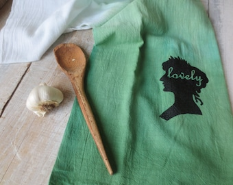 Scandinavian Style - Natural Kitchen - Cabin - Camp - Green Ombre Hand Towel - Flour Sack - Kitchen Towel - Rustic - Pine Green