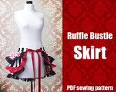 Ruffle Bustle Skirt - Printable PDF Pattern XS - 2X