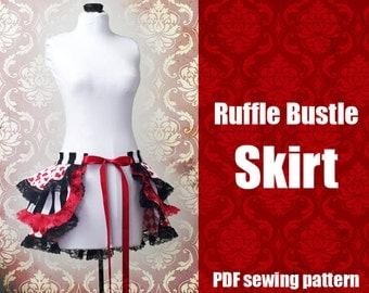 Ruffle Bustle Skirt - Printable PDF Pattern XS - 2X