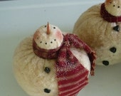 Primitive snowman ornie tuck bowl filler prim