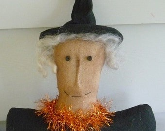 Primitive witch ornie tuck bowl filler halloween decor