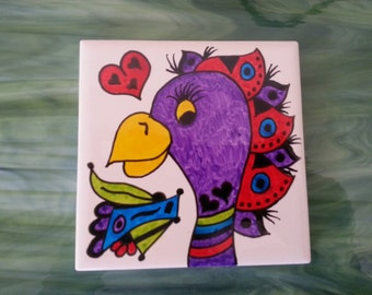 Mosaic Tiles One of a kind SILLY PARROT BIRD #8 Ceramic Mosaic Tile