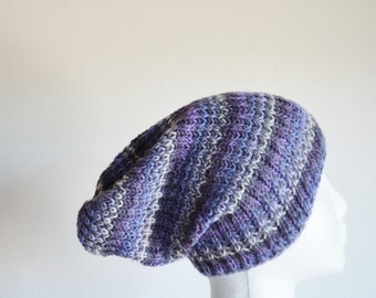 SALE Hand Knit Hat in Purple & Grey Stripes - Durable Soft Lightweight Fine Handknit Beanie Hat.  Knit hat. Grunge. Greys and Purples