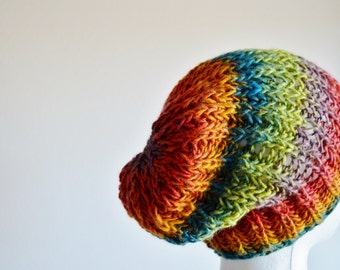 Slouchy Knit Hat in Cool Rainbows, Navigator Hat, Hand Knit Hat, Chunky Knit Hat. Vegan. Multicolor, Boho, Festival, Bright
