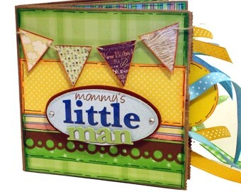 Mommy's Little Man Paper Bag Scrapbook - Premade Photo Album