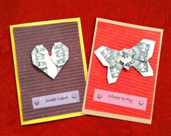 Origami Dollar Bill Greeting Card - Butterfly Wings To Fly or Heart - Sweet Heart