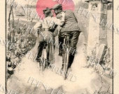 Instant Download Victorian Couple KISSING on Bicycle HEART 1899 antique Altered Postcard DIGITAL scan