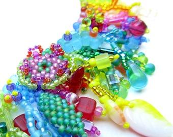 Beadweaving Tutorial No. 9 - Jungle Collar, Intermediate Beadweaving, Peyote Stitch Statement Necklace DIY Pattern