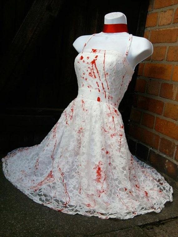 Halloween Carrie Zombie Bride Rockabilly 50s Swing White Lace