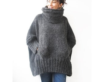 Dark Gray Hand Knitted Sweater with Accordion Hood and Pocket Plus Size Over Size Tunic - Dress Sweater by Afra