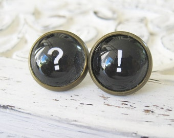 Punctuation Antique Brass Mismatched Post Earrings