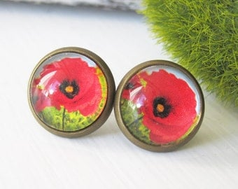 Poppies Antique Brass Post Earrings