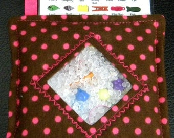 I Spy Bag - Mini with SEWN Word List and Detachable PICTURE LIST- Delightful Dots Pink and Brown