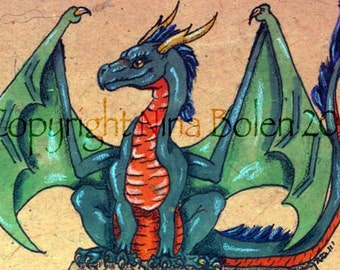 One Custom Order Dragon ACEO OOAK art card Original Painting