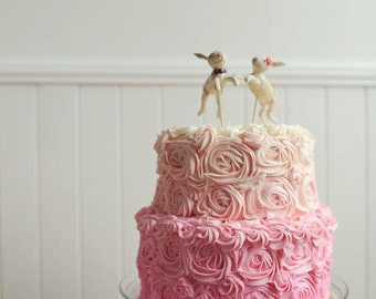 Rabbits in Love Wedding cake topper with Pink accents for your Rustic Wedding Made to order