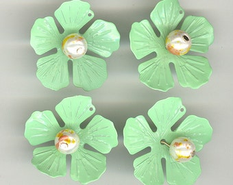 4 Mint Enameled With Faux Pearl Center Metal Flowers 1-1/4 Inches