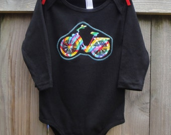 Childs Shirt or Baby Bodysuit for Girls or Boys - RAINBOW BIKE - Sizes for Baby, Toddler and Big Kids - Great Birthday or Baby Shower Gift