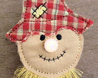 In the Hoop Scarecrow Flameless Tealight Pin Machine Embroidery Design File Instant Download