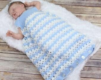 Baby Crochet Pattern Cocoon, 2 Sleeping Bag Crochet Pattern 3 Sizes DIGITAL DOWNLOAD 196