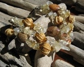 Multi Strand Beaded Stone Bracelet in Earth Tones - Fossil Coral, Citrine and Carved Bone