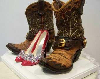 Reserved Listing for Vicki -Wedding Cake Topper- Brown Boots w/ Red Glitter Stilettos
