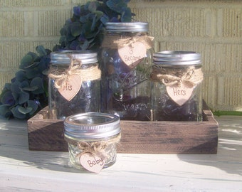 Sand Unity Set-His and Hers, Childs Unity Sand-Personalized Rustic Unity-Shabby Chic Unity Mason Jars