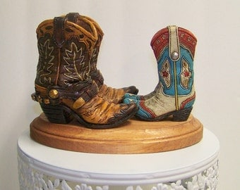 Wedding Cake Topper-Western Cake Topper-Rustic Boot Topper-Bride and Groom Topper