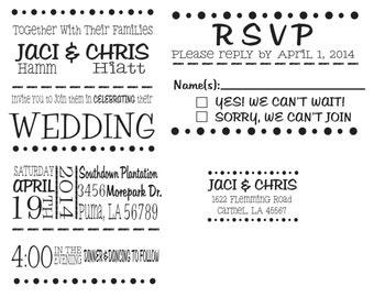 Wedding invitation rubber stamp set for DIY wedding invitations - Invitation, RSVP and Return address stamp