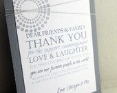 Modern Art Deco, Thank You Table Cards, Wedding Guests, Hand Stamped, Gray and White, Weddings
