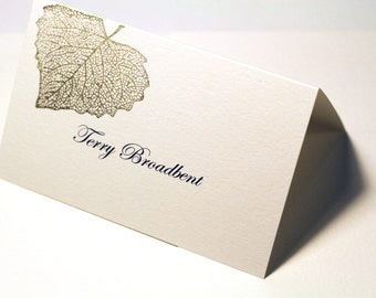 Gold Falling LeavesPlace Cards, Hand Stamped, Escort Cards, Wedding Reception, Etsy Weddings, Guest Seating, Table Cards - Deposit