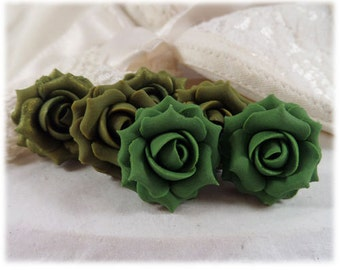 Olive Rose Earrings Stud or Clip On - Olive Rose Jewelry, Olive Flower Earrings
