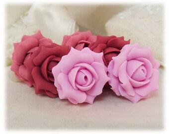 Pink Rose Earrings Stud or Clip On - Pink Rose Jewelry, Pink Flower Earrings