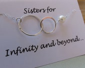 Sister Necklace & CARD Set, Sterling Silver Interlocking Sister Necklace, Anniversary Best Friend Infinity Necklace, Sisters Forever Jewerl