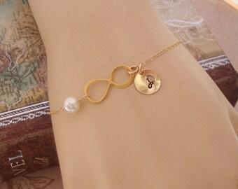 Personalized Infinity Bracelet, Be My Bridesmaid - eternity, infinity, maid of honor, bridal gift, bridesmaids,wedding, skinny gold bracele