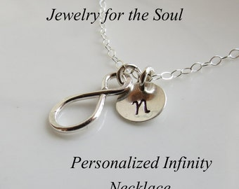 Personalized Infinity Necklace, Tiny Infinity Charm, Bridal Party, Friendship Gift Necklace, Sterling Silver Infinity Jewelry,Mother Jewelr
