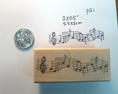 P21 musical notes rubber stamp WM