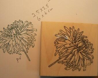 Chrysanthemum flower rubber stamp WM P6