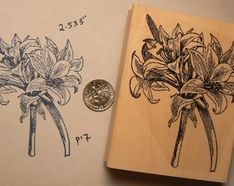 Flowers-Lily rubber stamp  P17