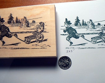 Boy with puppy  riding in a cart rubber stamp p37