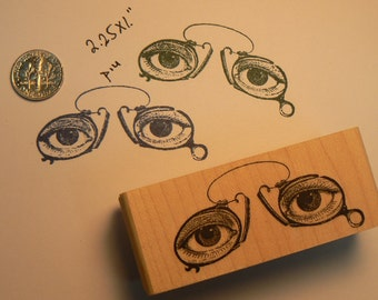 eyes with glasses art rubber stamp P14