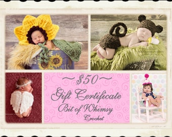 Gift Certificate 50 Dollars For Bit of Whimsy Crochet